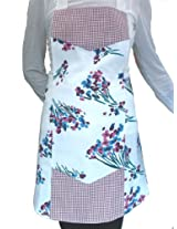 American Hostess Full Apron, Red and White Check With Floral Design