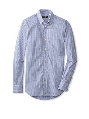 Gitman Blue Men's Plaid Button Down Shirt (Navy)