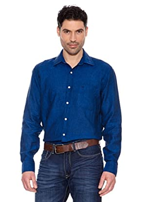 Pedro Del Hierro Camisa Lino (Azul Oscuro)