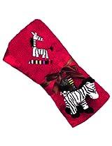 Kushies Zebra Blanket with Plush Toy, Red