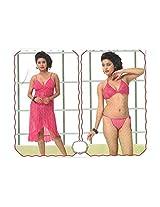 Indiatrendzs Sexy BABY DOLL Nightwear LINGERIE G STRING Women's Nighty pink 3pc Set