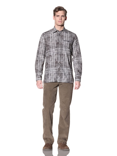 Hickey Freeman Sterling Men's Mottled Plaid Button-Up Shirt (Charcoal)