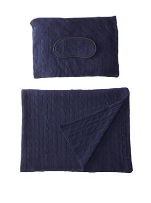 Sofia Cashmere Emilia Cable Knit Travel Set (Navy)
