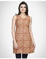 Cotton Kalamkari V Neck Mini Kurta-XL-Rust