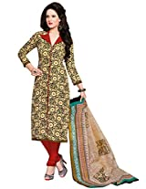 Salwar Studio Cream & Maroon & Black Cotton Dress Material with Dupatta SHIMAYAA-1218