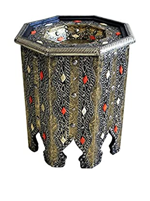 Badia Design Moroccan Metal & Bone Octagonal Side Table, Silver/White/Orange