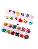 XICHEN® 60 Starry plus 60 five flower flower three-dimensional applique 3d nail stickers nail supplies dried flowers2* 12 color (Starry and five flower)