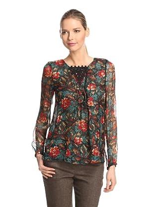 Anna Sui Women's Fauve Floral Print Gauze Top (Forest Green Multi)
