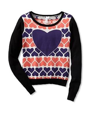 Shae Women's Multi Heart Sweater (Black/Off-White/Multi)