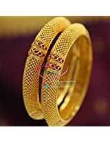 Gold Plated Beads Design Ruby Stones Broad Bangles Party Wear Jewellery
