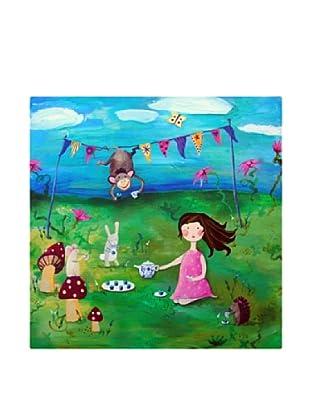 "Cici Art Factory Brunette Girl Tea Party, 16""x 16"""