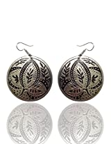 Optionsz Antique Theme Round Dark Color Nature Embossed Elegent Round Shape Hanging Dangle Earring , OPTERJPAZ218