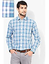 Aqua Blue Check Slim Fit Casual Shirt Peter England