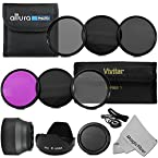 52MM Must Have Lens Filter Accessory Kit for NIKON D3300 D3200 D3100 D3000 D5200 D5100 D5000 D7000 D7100 DSLR Camera - Includes: 52MM Vivitar Filter Kit (UV CPL FLD) + ND Neutral Density Filter Set (ND2 ND4 ND8) + Carry Pouch + Tulip Lens Hood + Collapsible Lens Hood + Snap-On Front Lens Cap + Cap Keeper Leas + MagicFiber Microfiber Lens Cleaning Cloth
