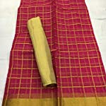 Red orgeneza Saree Withchecks blouse piece