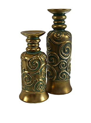 Set of 2 Molina Pillar Holders, Gold/Green