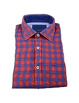 Linen Club Formal Shirt Red & blue