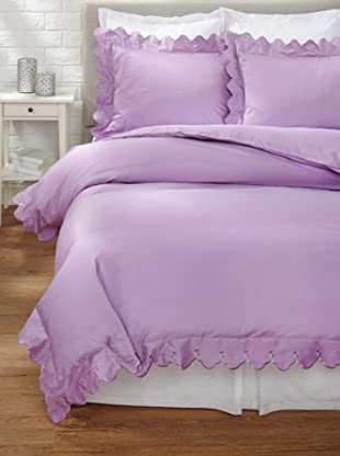 Belle Epoque Scalloped Embroidered Duvet Cover Set (Purple)