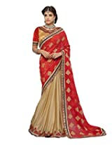 KVS FAB Beige Red Georgette Jacquard Saree