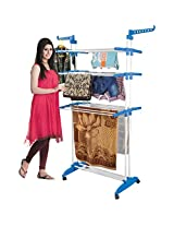 Hi-Quality Three Layer Clothes Rack Hanger with Wheels for Drying Clothes