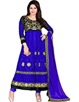 Fancy Blue Color Net Anarkali Suit