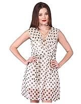 Purys Women's Fit & Flare Dress (AP071_Beige Brown_L)