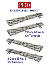 Peco Ho Scale Code 83 Insulfrog Empire Set Of 4 Turnouts, (2) #6 Left Hand Turnouts And (2) #6 Right Hand Turnouts, Dcc Friendly
