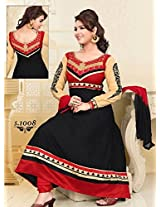 Bansari Black and Red cotton Embroiderad designer anarkali salwar suit