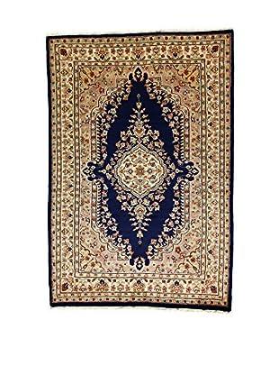 L'Eden del Tappeto Teppich Kashmirian F/Seta beige/dunkelblau 184t x t125 cm