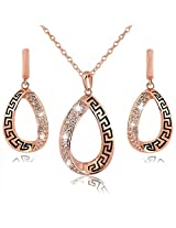Waah Waah Gold plated antique style water drop shaped wedding necklace set jewellery for women (1-NE0F-GG-1204)