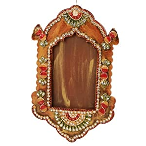 Decorative wooden kundan work photo frame