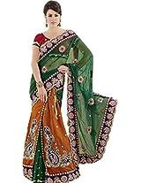 Green Rust Wedding Wear Lehenga Saree Cut Work Embroidery Georgette Silk Net Sari