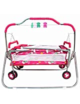 My Angel Steelcraft 6 In 1 Baby Cradle, Cot, Crib, Bassinet, Stroller, and Swing - Pink