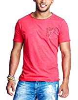 Masculino Latino Casual Red T-shirts Round Neck for Men MLT3016A-XL