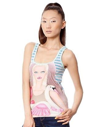Custo Camiseta (Turquesa / Rosa)