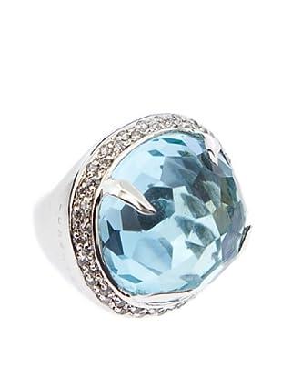 Luxenter Anillo Kalemi Azul Cuarzo  Y Cristal De Roca