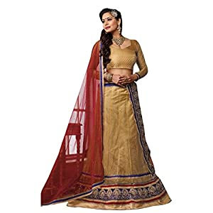 Gold, Red & Blue Colored Trendy Triveni Style Chanderi Jacquard and Net Lehenga Choli With Stone Work by Valuze
