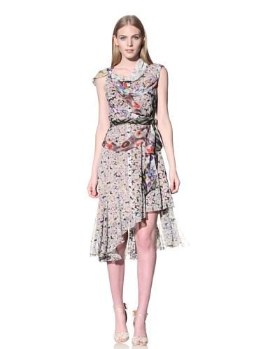 Byron Lars Women's Mixed Floral Printed Chiffon Dress (Multi)