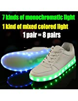 7 Colors Led Luminous Shoes Unisex Sneakers Men & Women Sneakers Usb Charging Light Shoes Colorful Glowing Leisure Flat Shoes (Us Size 6)