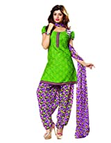 Riti Riwaz Green Casual Dress materal with matching dupatta PUM7013
