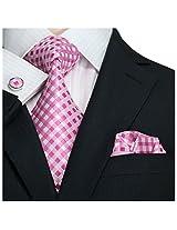 """Landisun Plaids Checks Mens Silk Tie Set: Necktie+Hanky+Cufflinks 550 Pink, 3.25""""W x 59""""L"""