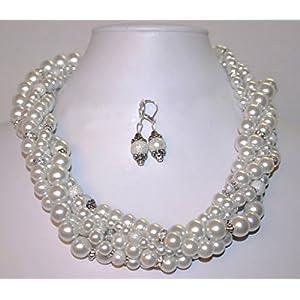 WHITE PEARLS WITH WHITE DIAMOND NECKLACE SET