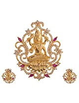 Ganapathy Gems 1 Gram Gold Plated Lakshmi Pendant Set With Ruby Cz Stones (8407)