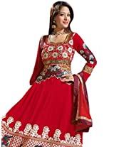 Vibes Womens Georgette Patch Work Anarkali Unstitched Dress Material (V162-3008 B _Red)