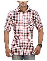 SPEAK Men's Premium Cotton Red & White Checks Half Sleeves Casual Shirt (44)