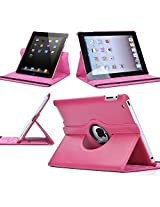 TGK 360 Degree Rotating Leather Case Cover Stand for iPad Mini Retina Display - Hot Pink