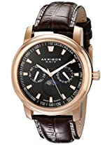Akribos XXIV Men's AK573RG Ultimate Swiss Quartz Multifunction Black Dial Rose-tone Stainless Steel Brown Leather Strap Watch