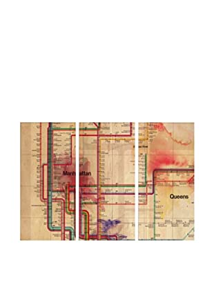 Oliver Gal Manhattan Subway Track Triptych Canvas Art