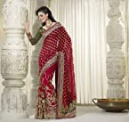 Red and Green Colour Half Georgette Jacquard Butti and Half Net Material Wedding Designer Sarees : Milano Collection - YF-14844