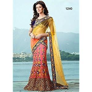 Bollywood Replica Sushmita Sen Net Lehenga Saree In Yellow and Pink Colour NC689